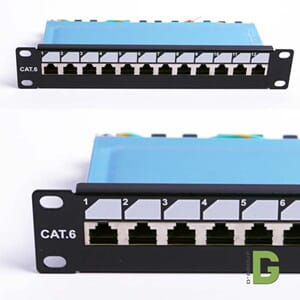"dGLink 10""Patch panel Cat 6, 12 port x RJ45 Skjermet"